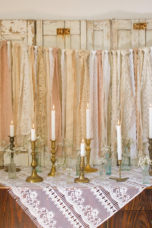 Vintage Amy Wedding Styling-Vintage Candlesticks-Vintage Lace-Vintage Medicine Bottles-Prop Hire Kent