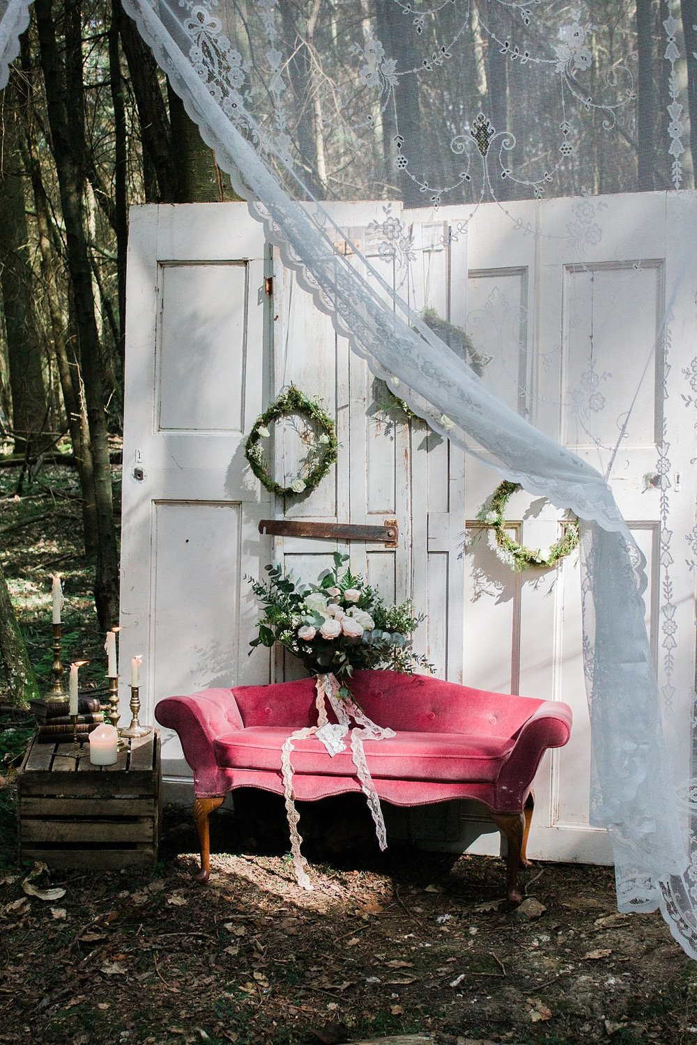Vintage Amy Wedding Styling-Whimsical Woodland Wedding Inspiration Kent-Woodland Vintage Lounge Area
