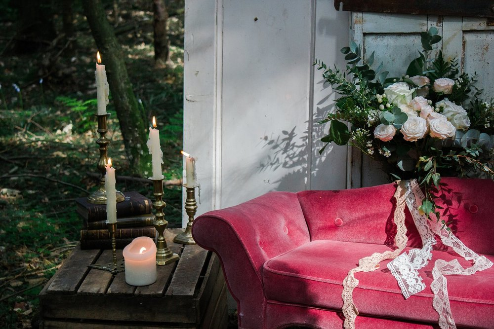Vintage Amy Wedding Styling-Whimsical Woodland Wedding Inspiration Kent-Vintage Sofa and Brass Candlesticks to Hire Kent