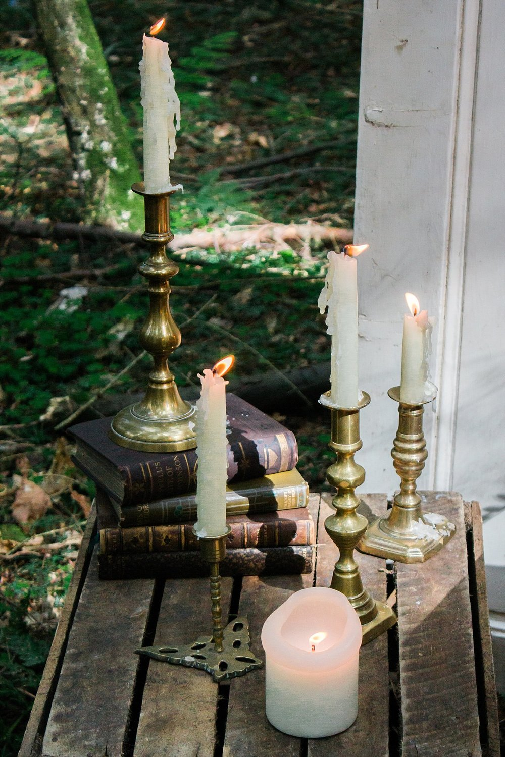 Vintage Amy Wedding Styling-Whimsical Woodland Wedding Inspiration Kent-Vintage Brass Candlesticks Woodland Wedding