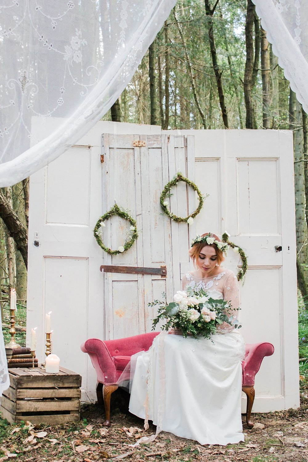 Vintage Amy Wedding Styling-Whimsical Woodland Wedding Inspiration Kent-Vintage Wedding Lounge Hiring and Styling Kent