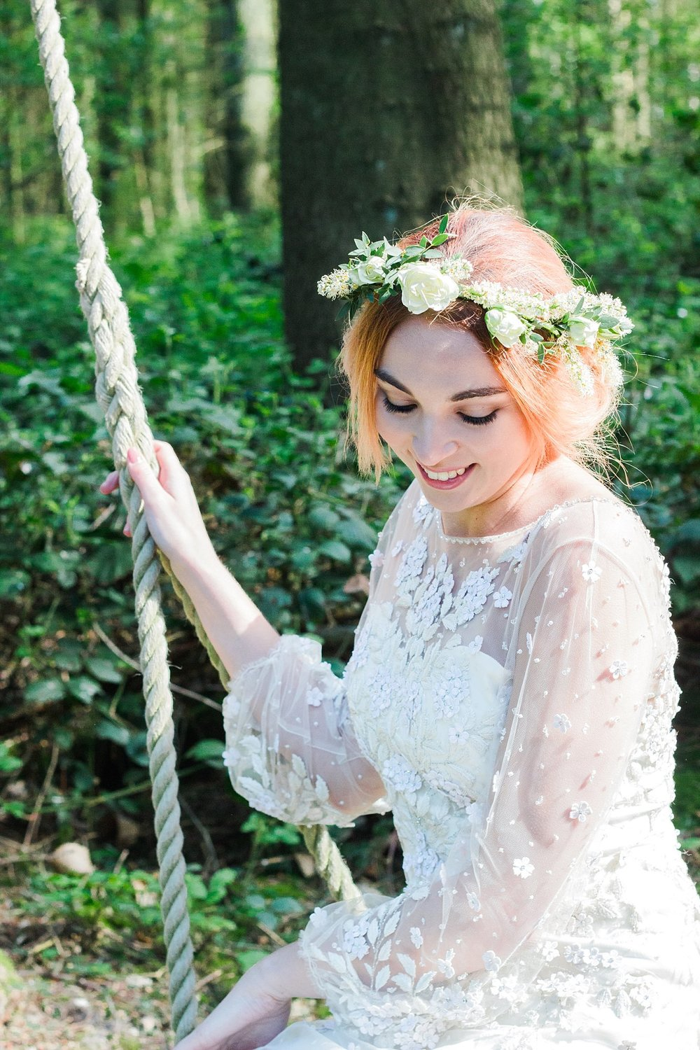 Vintage Amy Wedding Styling-Vintage Whimsical Woodland Wedding Kent-Vintage Bride Flower Crown
