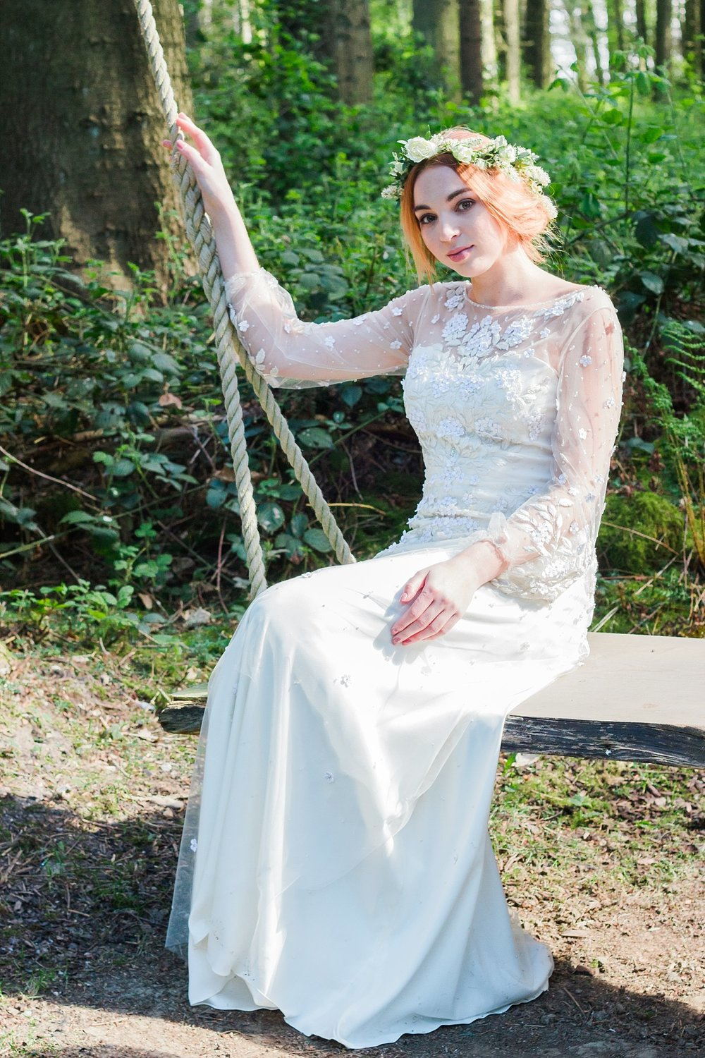 Vintage Amy Wedding Styling-Vintage Whimsical Woodland Wedding Kent-Vintage Flower Crown Bride
