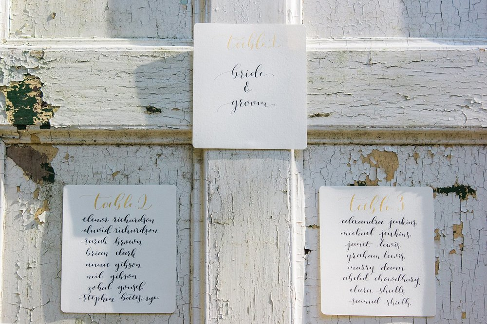 Vintage Amy Wedding Styling-Whimsical Woodland Vintage Wedding Kent-Vintage Calligraphy Table Plan on Wooden Doors