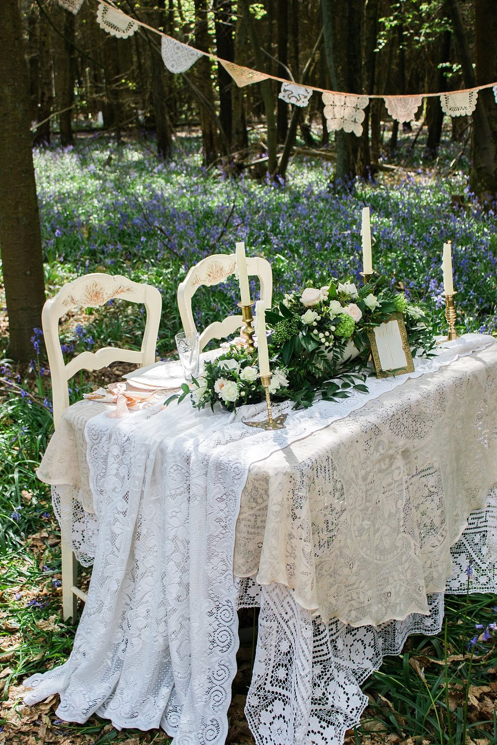 Vintage Amy Wedding Styling-Whimsical Woodland Vintage Wedding Kent-Vintage Lace Wedding Table