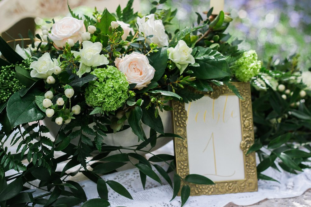Vintage Amy Wedding Styling-Whimsical Woodland Vintage Wedding Kent-Vintage Gold Frame Wedding Table Number