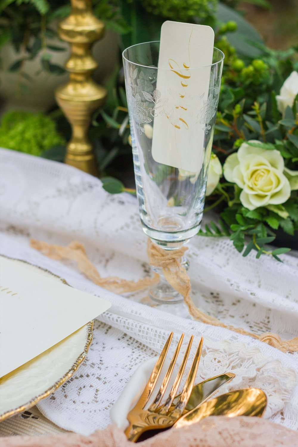 Vintage Amy Wedding Styling-Whimsical Woodland Vintage Wedding Kent-Vintage Gold Table Setting