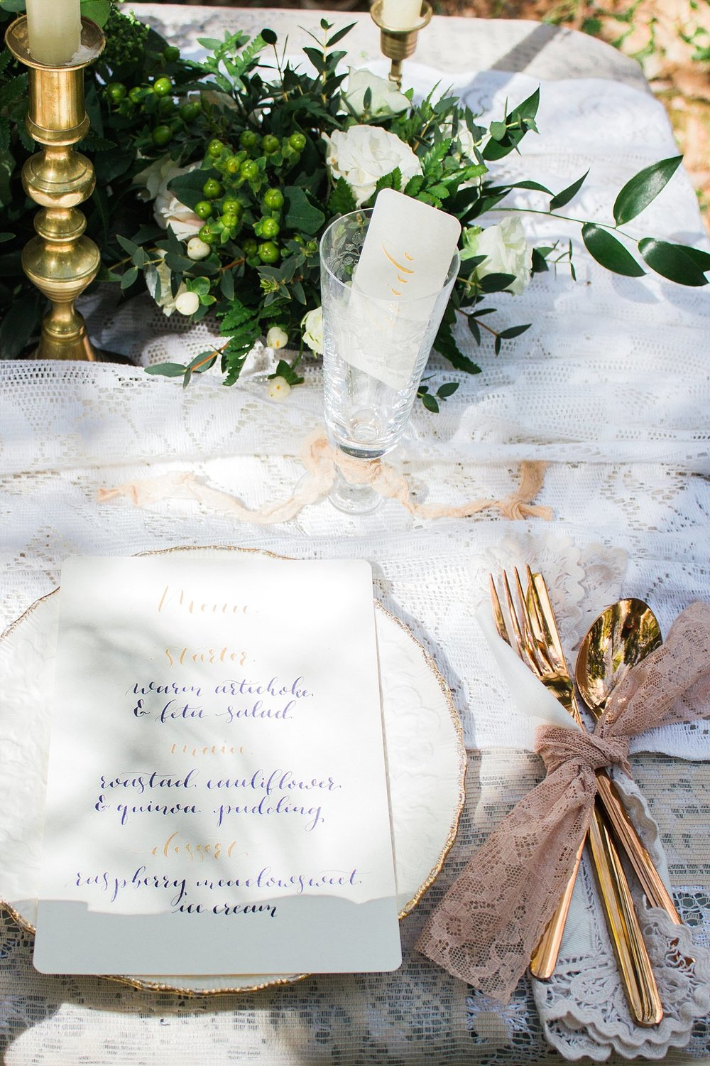 Vintage Amy Wedding Styling-Whimsical Woodland Vintage Wedding Kent-Vintage Calligraphy and Lace Table Setting