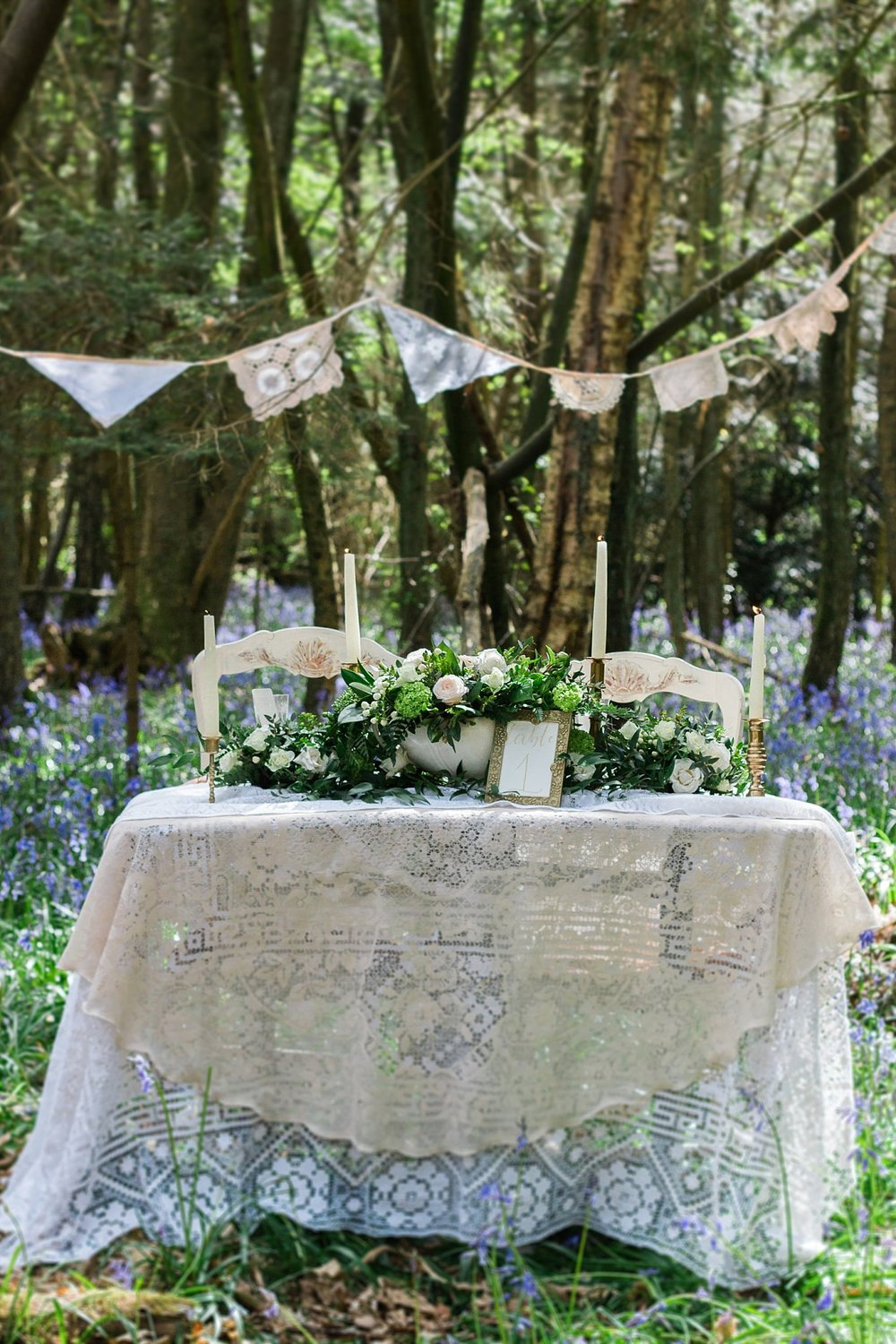 Vintage Amy Wedding Styling-Whimsical Woodland Vintage Wedding Kent-Vintage Lace Woodland Wedding Table