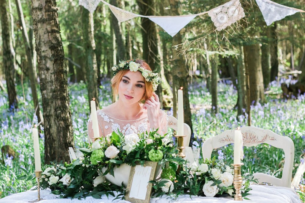 Vintage Amy Wedding Styling-Whimsical Woodland Wedding Kent-Vintage Lace and Neutral Flowers