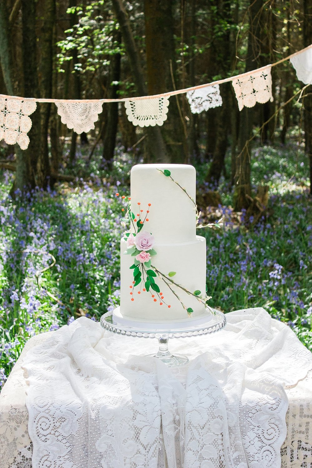Vintage Amy Wedding Styling-Whimsical Woodland Wedding Kent-Vintage Wedding Cake Lace Bunting