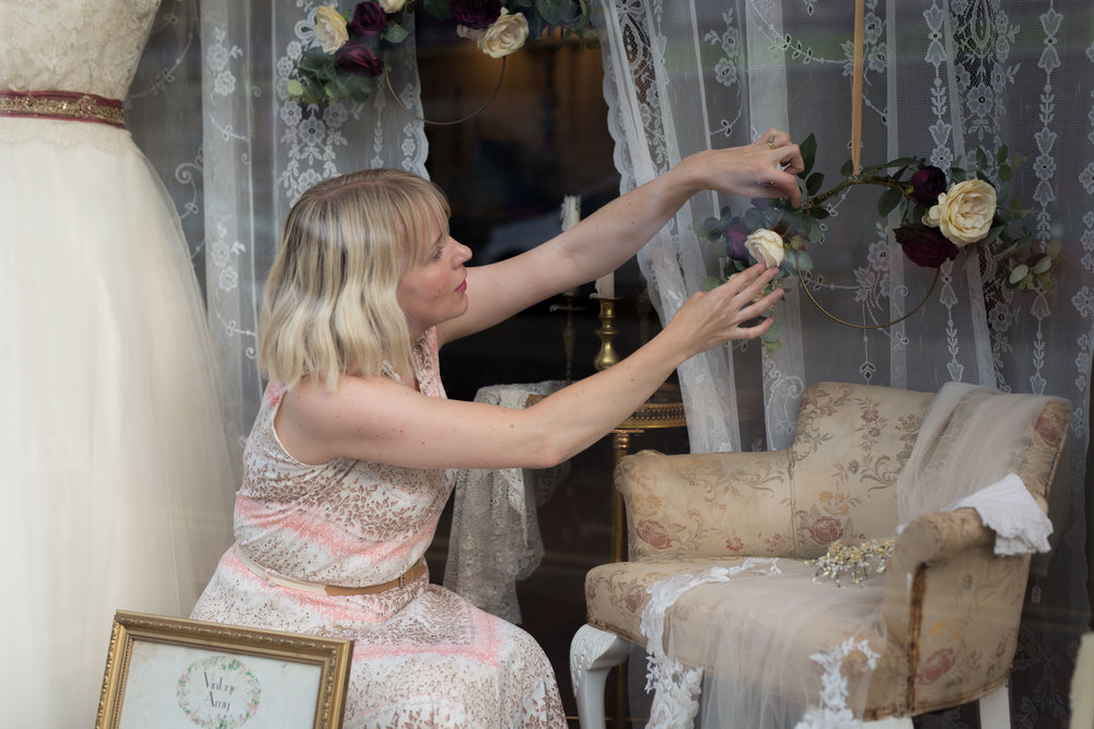 Vintage Amy Wedding Styling-Elegant Vintage Wedding Window Styling-Window Dressing Kent