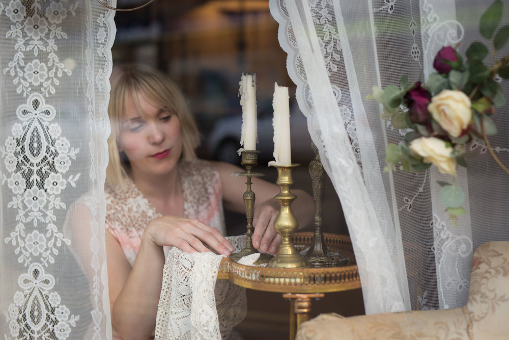 Vintage Amy Styling-Window Dressing Kent-Vintage Lace and Silk Flowers-Wedding Props Hire Kent