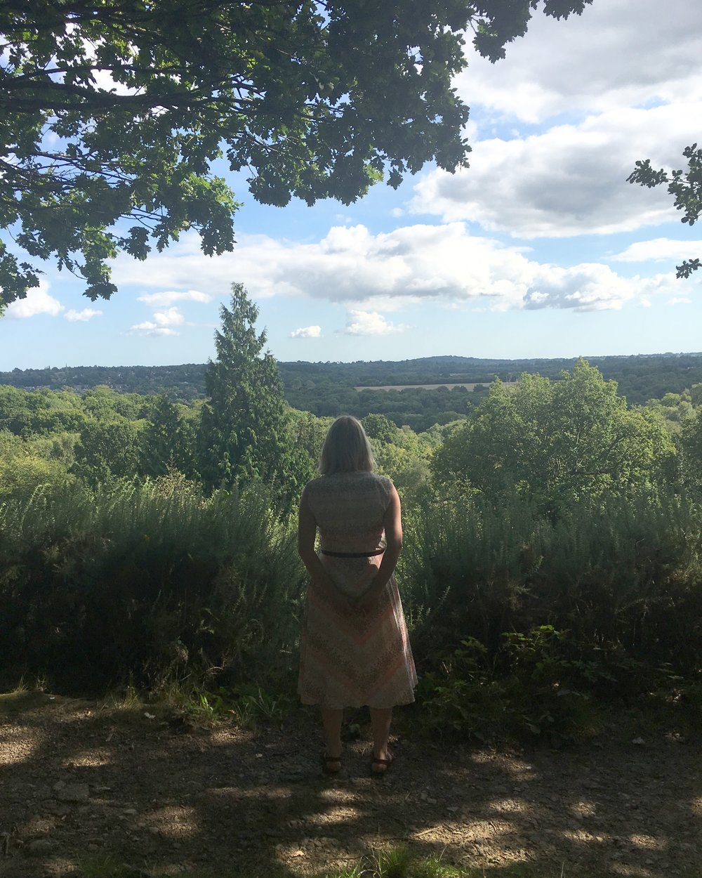 Me in my vintage dress, looking out over the Kent countryside, contemplating life and taking some quiet time. So good for the soul!
