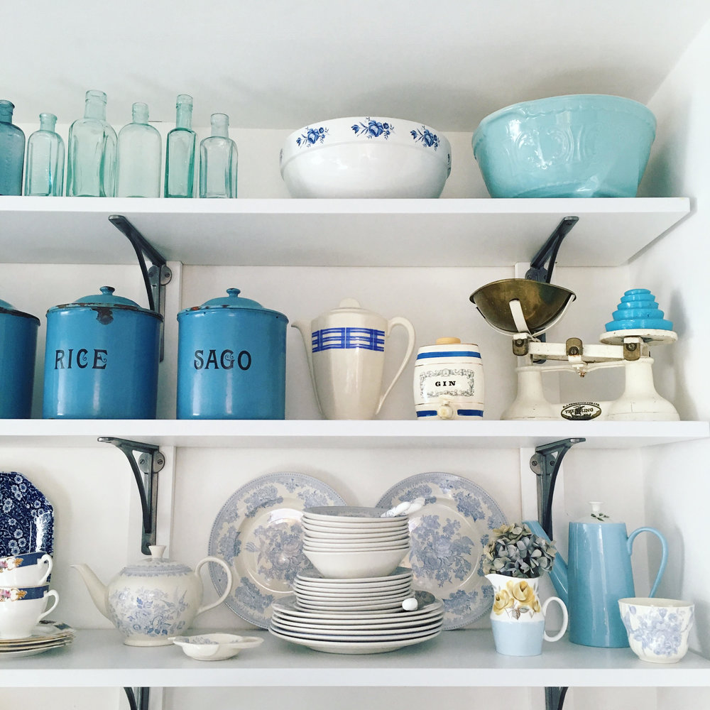 Vintage Amy Styling Tips Blog-Vintage Blue and White Kitchen-Vintage Medicine Bottles