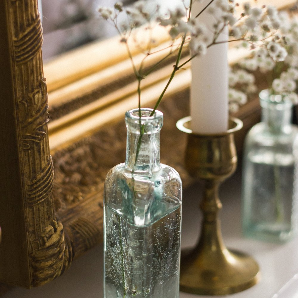 Vintage Amy Styling Tips Blog-Vintage Brass Candlesticks and Medicine Bottles-Prop Hiring Kent