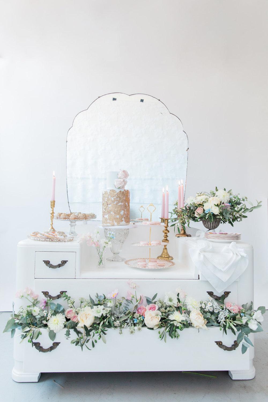 Vintage Amy Wedding Styling-Chic Vintage Wedding Inspiration-Vintage Dresser Dessert Table-London Wedding