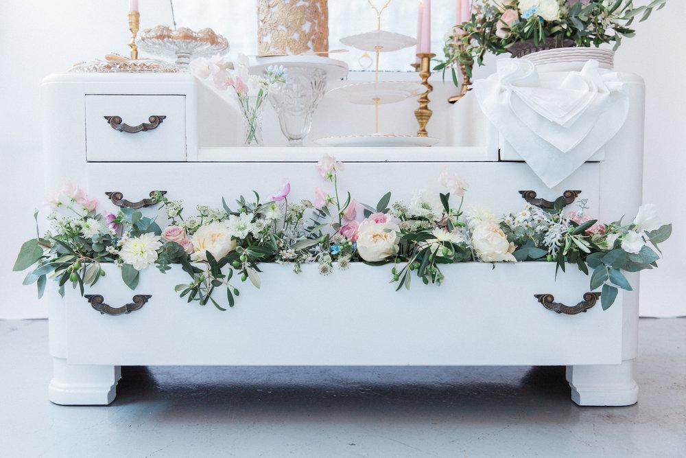 Vintage Amy Wedding Styling-Vintage Luxe-Elegant Vintage Wedding Dessert Dresser London