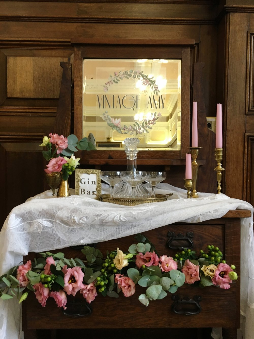 Vintage Amy Wedding Styling-Vintage Gin Bar Dresser-London Wedding