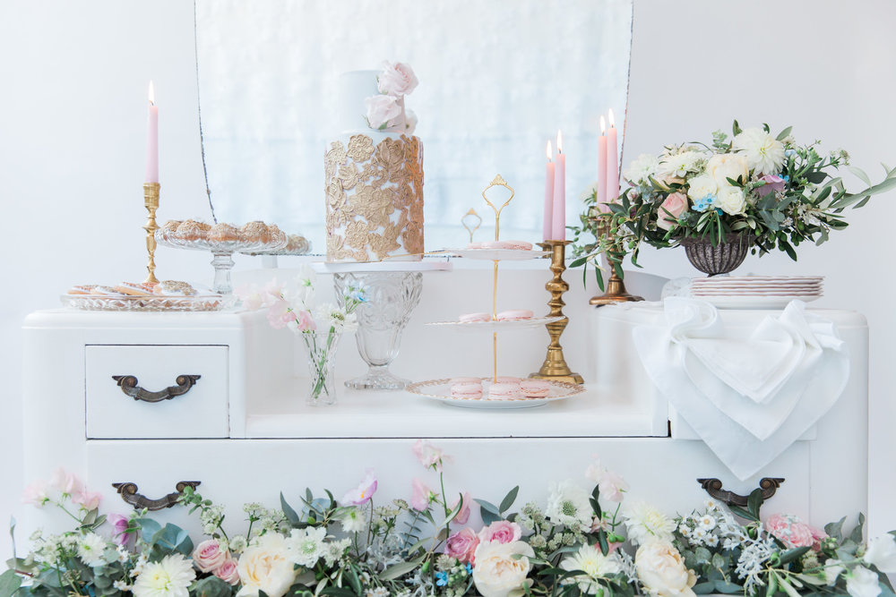 Vintage Amy Wedding Styling-Vintage Luxe Reception Details-Dessert Dressing Table London