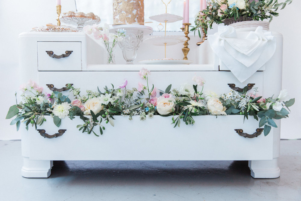 Vintage Amy Wedding Styling and Prop Hire-Vintage Luxe Wedding Reception-Vintage Dessert Dressing Table