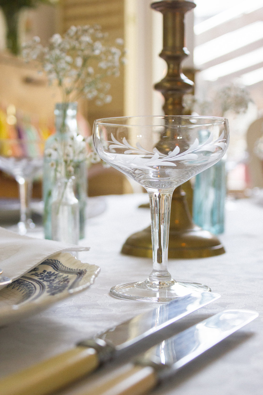 Vintage Amy Wedding Styling-Vintage Prop Hire Kent-Vintage Champagne Saucers