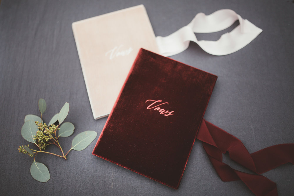 Vintage Amy Wedding Styling-Romantic Rustic Luxe Wedding Kent-Romantic Velvet Wedding Stationery Vows Book