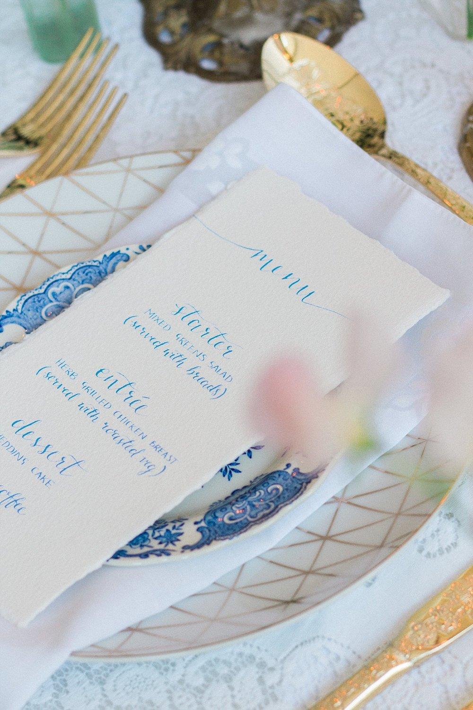 Vintage Amy Wedding Styling-Modern Vintage Wedding Place Setting-Calligraphy Menu