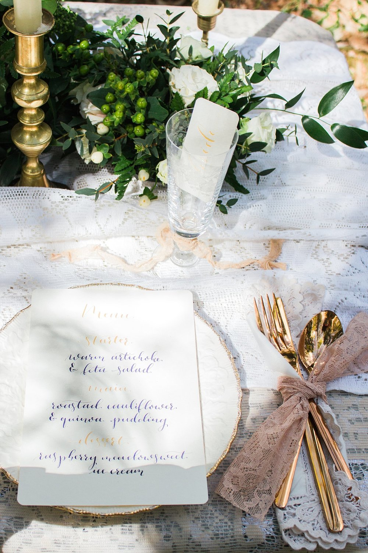 Vintage Amy Wedding Styling-Elegant Vintage Wedding Tablescape-Gold Calligraphy Menu