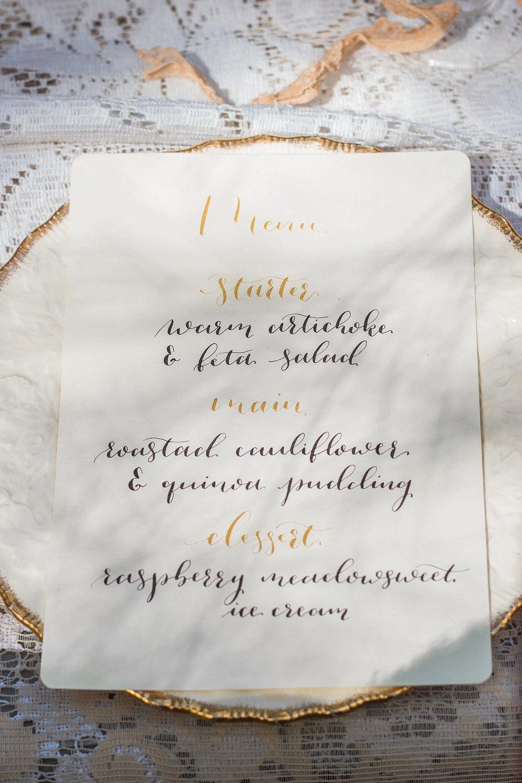 Vintage Amy Wedding Styling-Elegant Luxury Vintage Wedding-Gold Calligraphy Menu