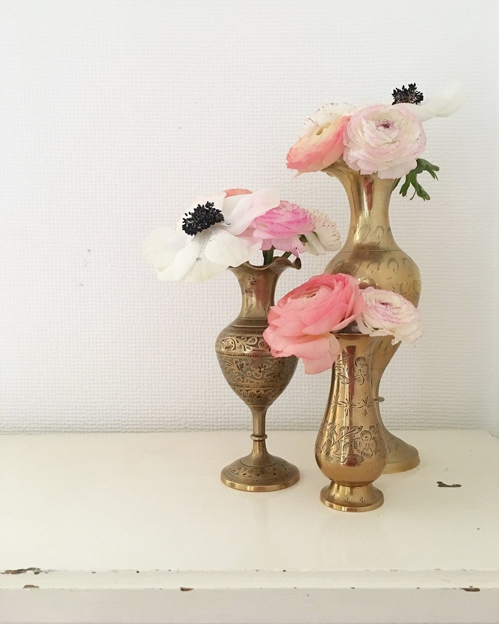 Vintage Amy Wedding Styling-Vintage Brass Vases-Modern Vintage Wedding Kent