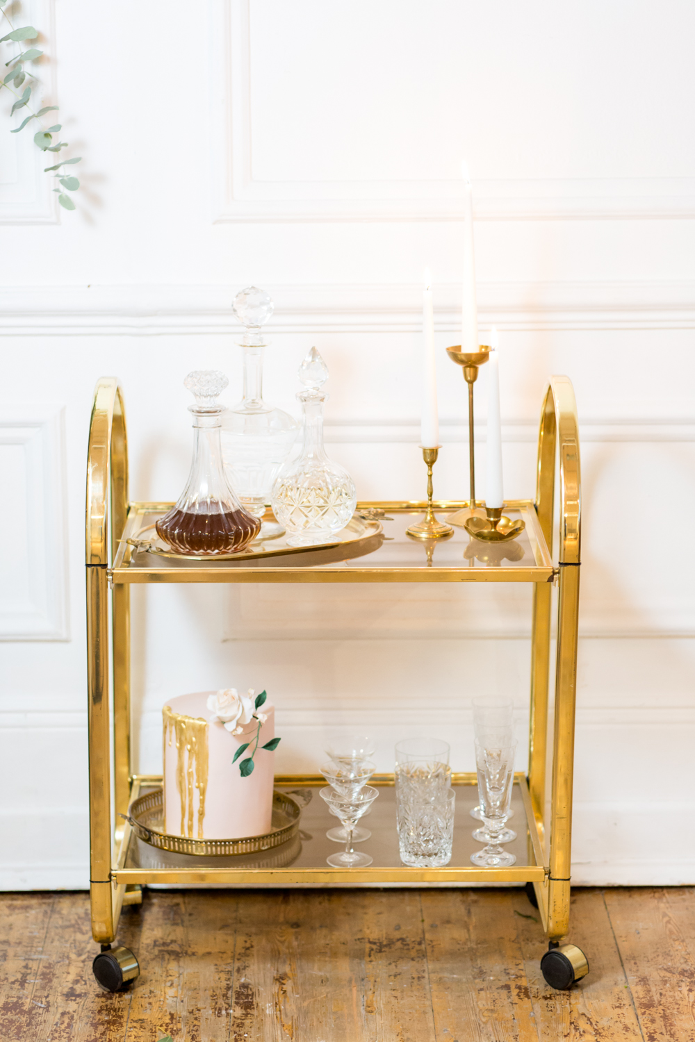 The Timeless Stylist - Vintage Brass Bar Trolley