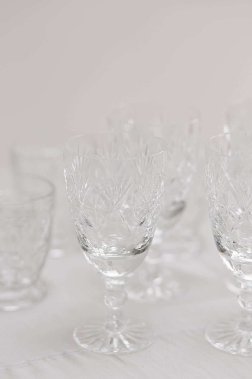 The Timeless Stylist-UK Wedding Design and Styling-Vintage Cut Glass Glasses-Prop Hire Kent