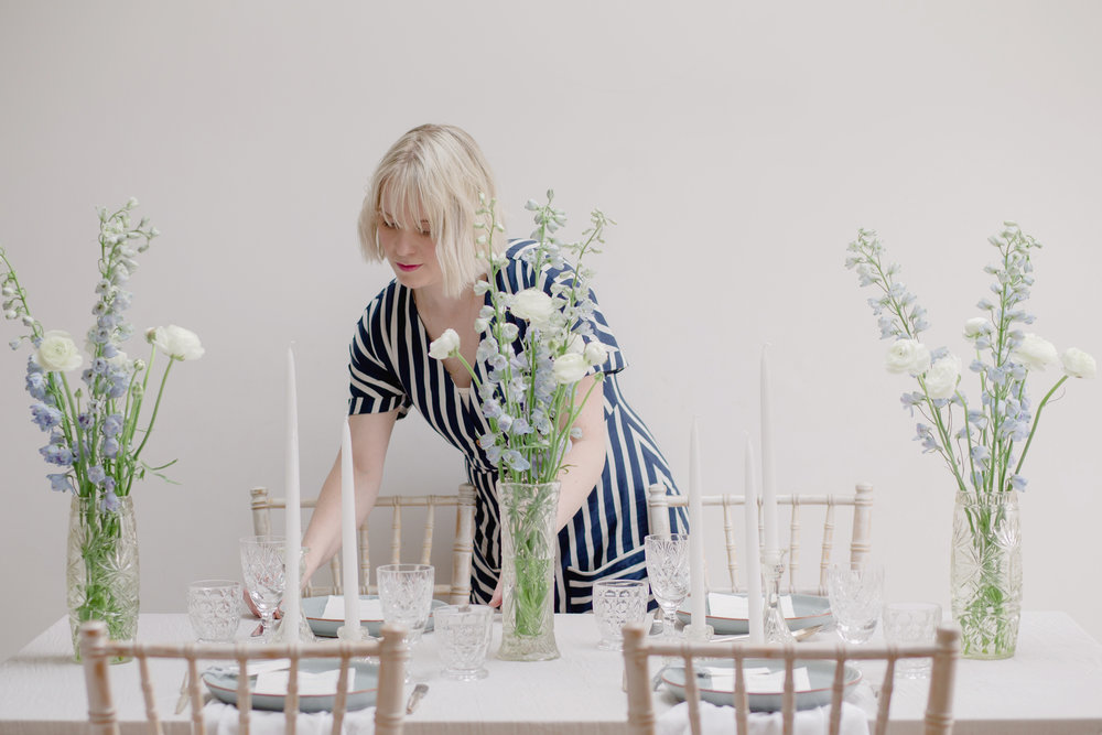The Timeless Stylist-UK Wedding Design and Styling-Simple Summer Tablescape Styling-Delphiniums and Ranunculus