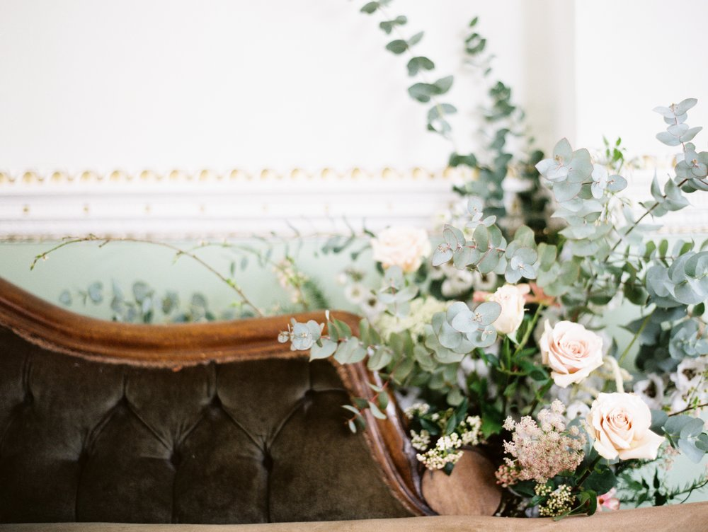 The Timeless Stylist-Chaise Floral Installation
