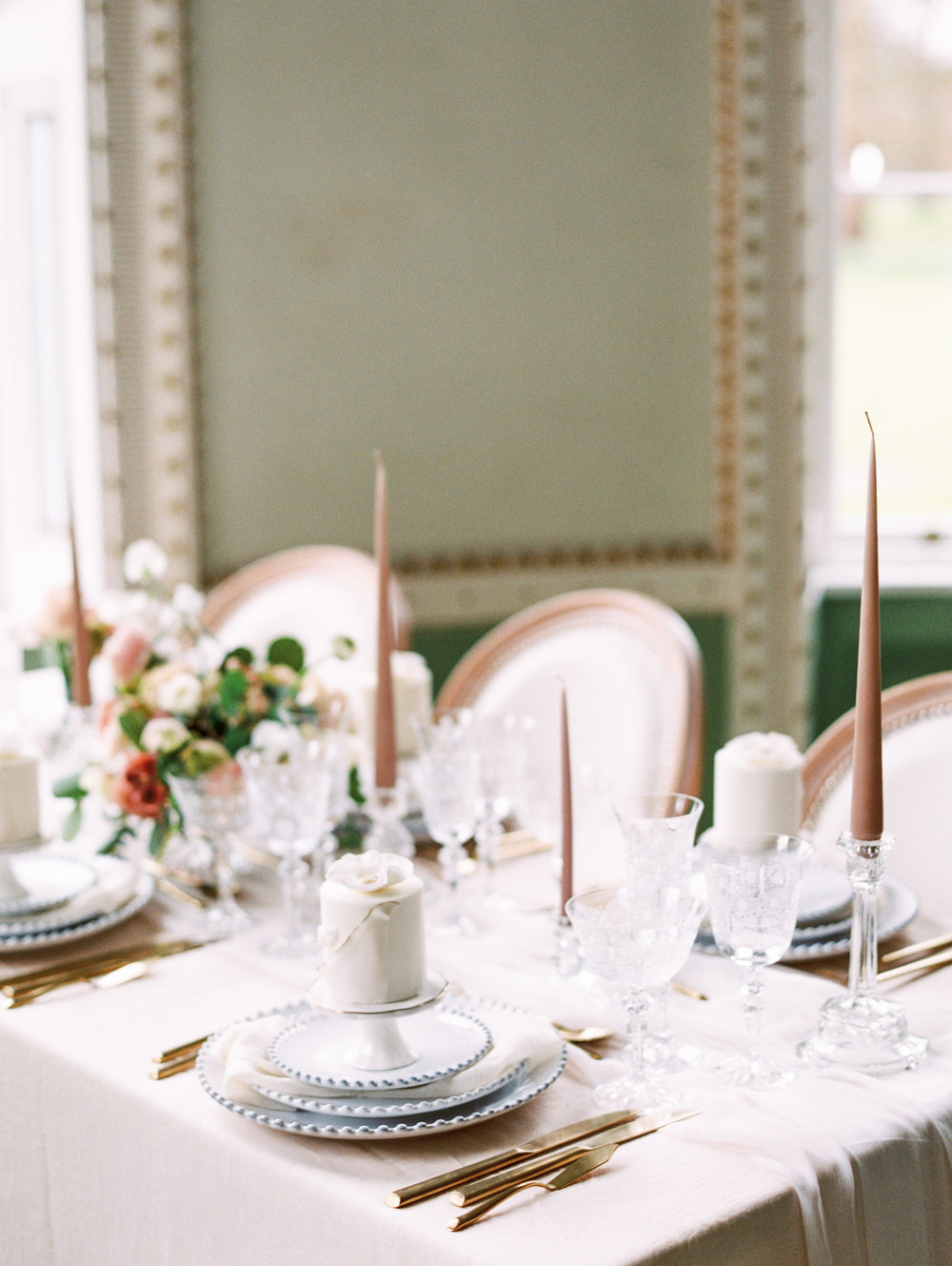 The Timeless Stylist-Elegant and Romantic Wedding Styling-Neutral Palette Wedding Tablescape-Tapered Candles