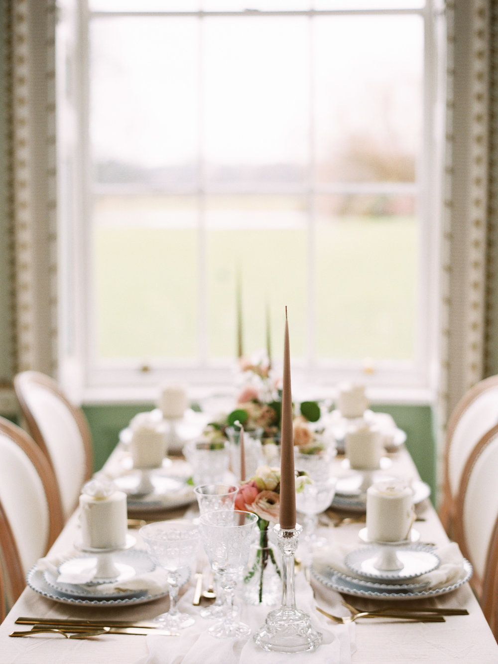 The Timeless Stylist-Elegant and Romantic Wedding Styling-Neutral Palette Wedding Tablescape-Stately Home Wedding Venue
