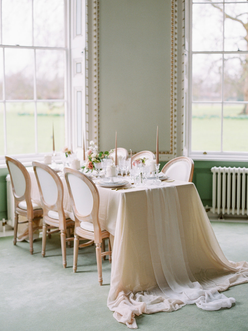 The Timeless Stylist-Elegant and Romantic Wedding Styling-Elegant Flowing Silk Tablecloth and Runner Wedding Tablescape