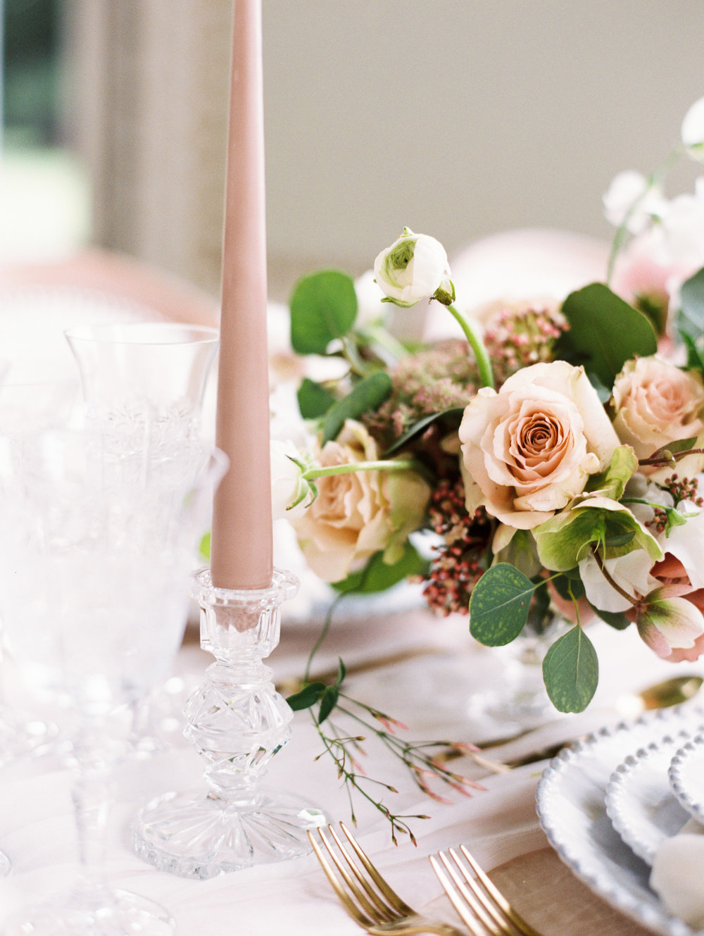 The Timeless Stylist-Elegant and Romantic Dinner Party Styling-Taupe Tapered Candles and Glass Candlesticks