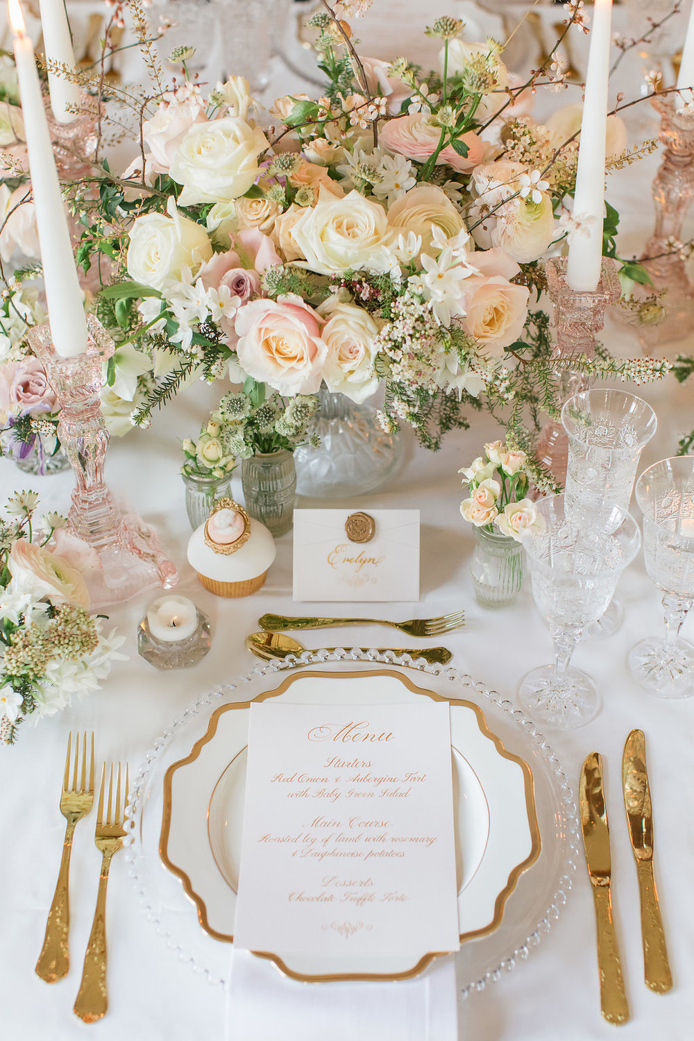 The Timeless Stylist-Elegant and Romantic Dinner Party Styling-Decadent White & Gold Tableware