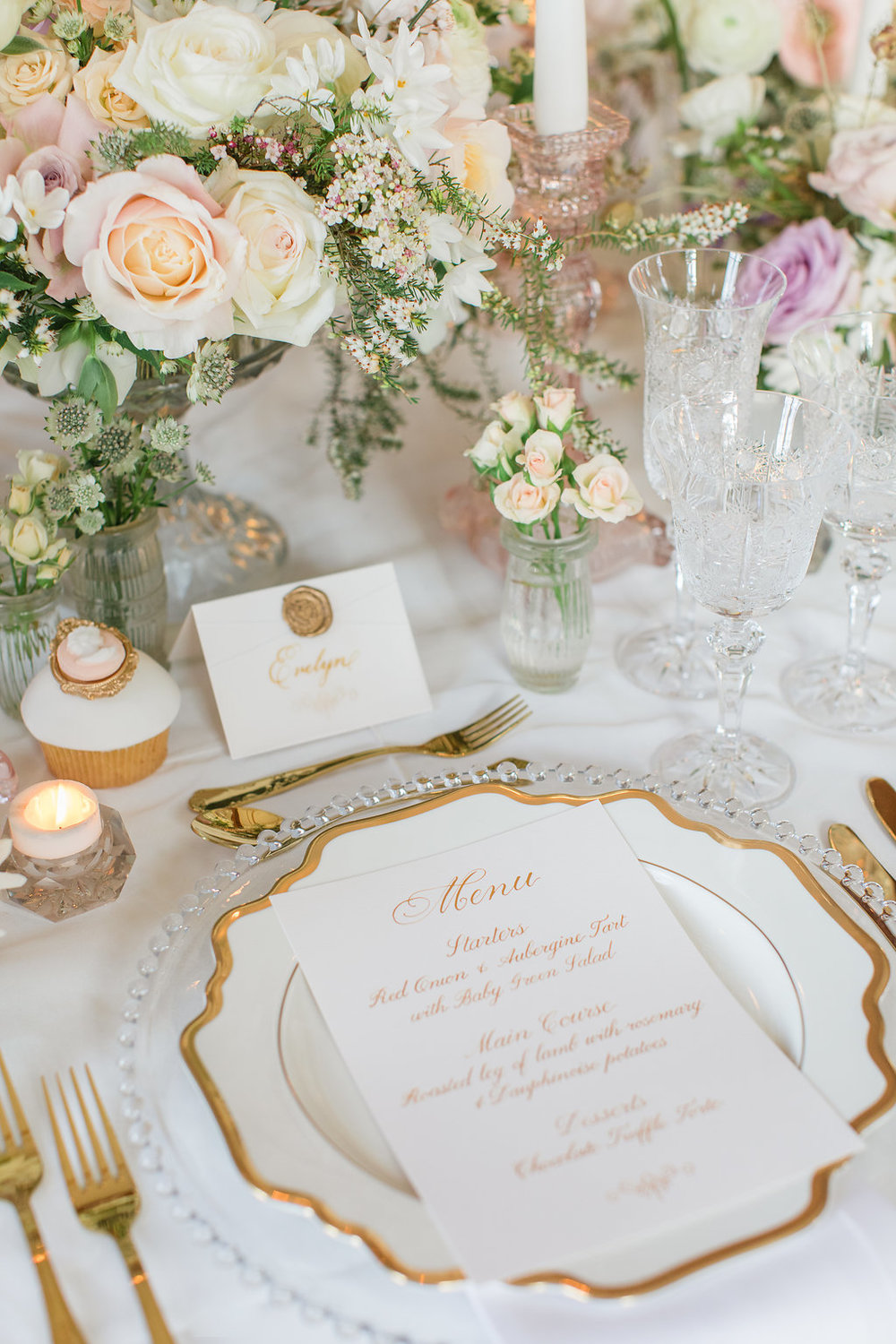 The Timeless Stylist-Elegant and Romantic Dinner Party Styling-Calligraphy Stationery
