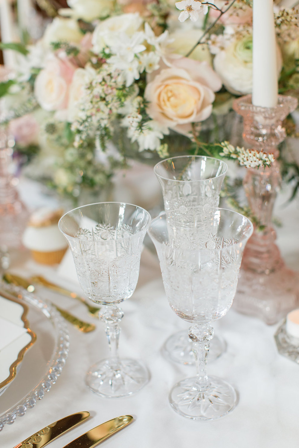 The Timeless Stylist-Elegant and Romantic Dinner Party Styling-Luxury Glassware