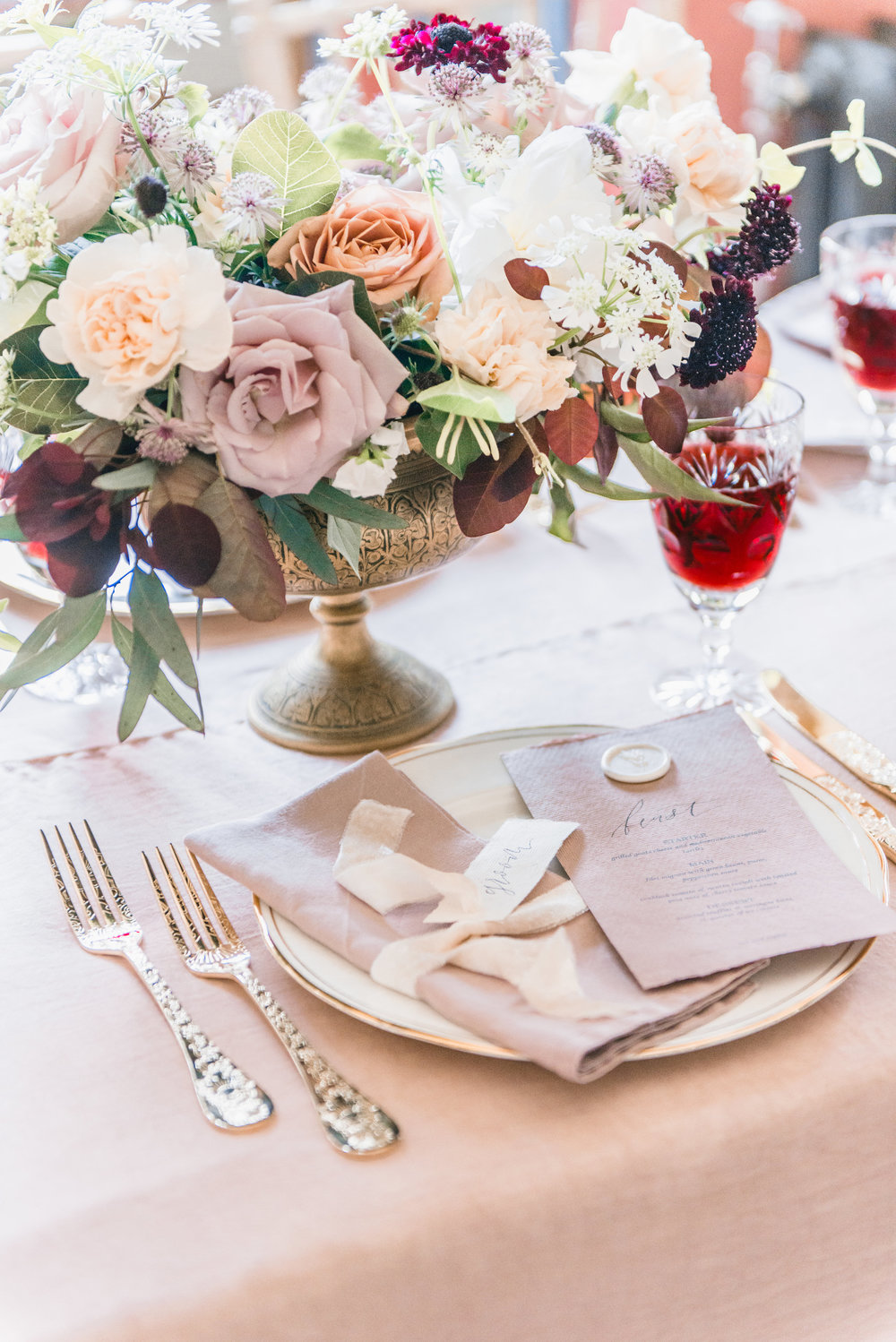 The Timeless Stylist-Elegant and Romantic Dinner Party Styling-Brass Bowl Vase