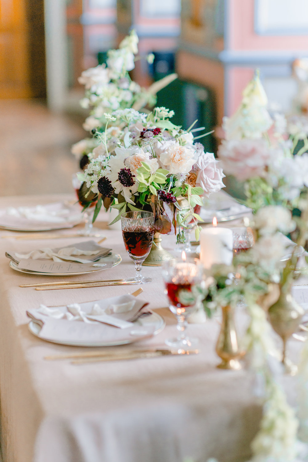The Timeless Stylist-Elegant and Romantic Wedding Styling-Dusky Pink Tablecloth