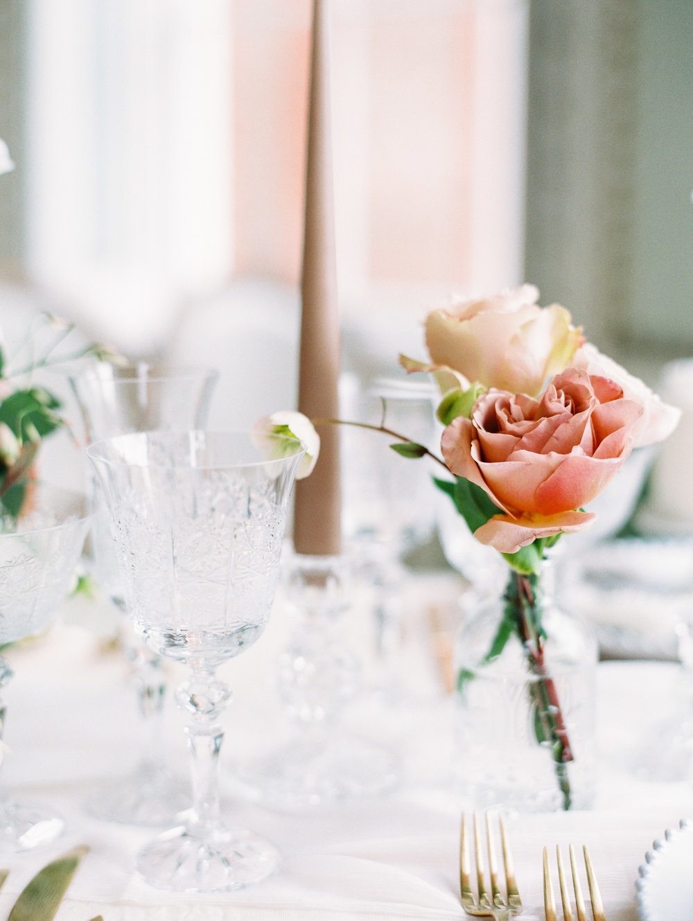 The Timeless Stylist-Elegant and Romantic Wedding Design and Styling-Cut Glass Candlesticks