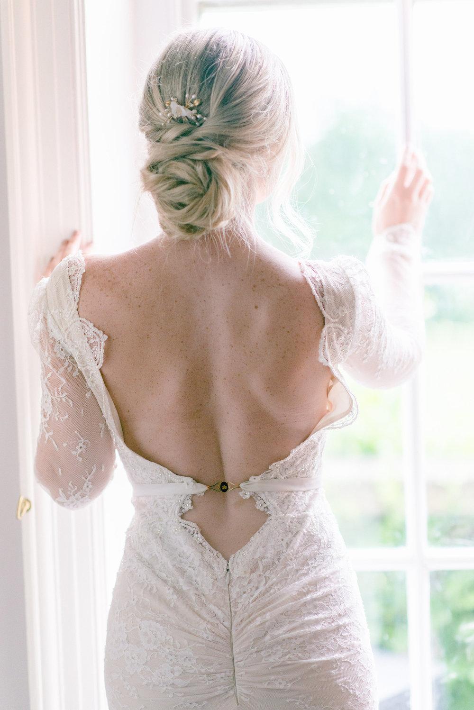 The Timeless Stylist-Elegant and Romantic Wedding Styling-Low Back Wedding Dress