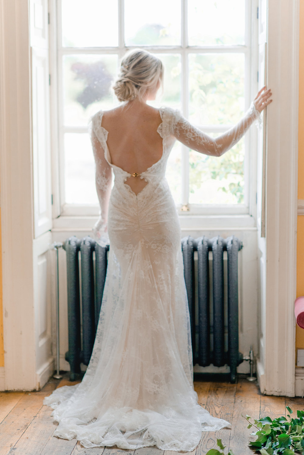 The Timeless Stylist-Elegant and Romantic Wedding Styling-Long Sleeved Lace Wedding Dress