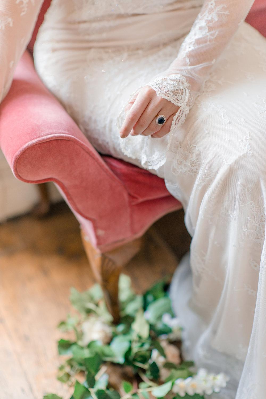 The Timeless Stylist-Elegant and Romantic Wedding Styling-Something Blue Antique Engagement Ring