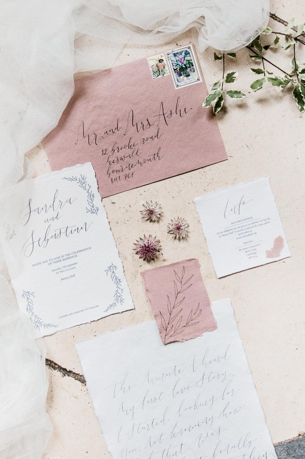 The Timeless Stylist-Elegant and Romantic Wedding Styling-Fine Art Calligraphy Wedding Invitations