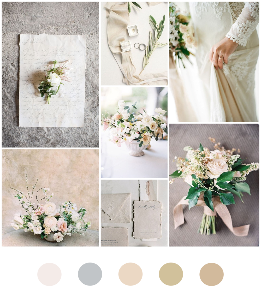 The Timeless Stylist-Elegant and Romantic Wedding Styling-Neutral Wedding Moodboard